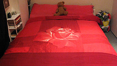 bed red with bear 4274437849_35fa0d33dc_m